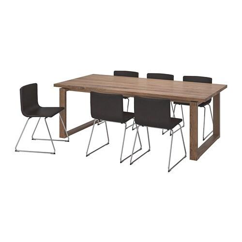 6 Eetkamerstoelen En Tafel.Morbylanga Bernhard Tafel Met 6 Stoelen Ikea