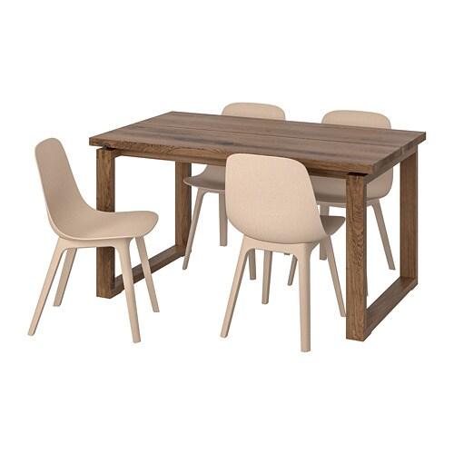 Eettafel En Stoelen Ikea.Morbylanga Odger Tafel En 4 Stoelen Bruin Wit Beige