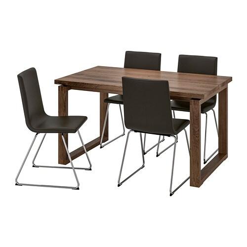 Eettafel En Stoelen Ikea.Morbylanga Volfgang Tafel En 4 Stoelen Bruin Bomstad Zwart