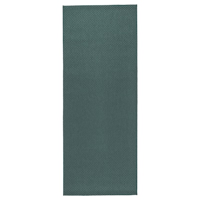 MORUM Vloerkleed glad geweven, bin/buit, grijs/turkoois, 80x200 cm