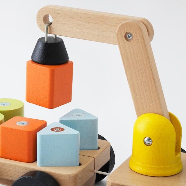 MULA hijskraan met blokken veelkleurig/beuken 28 cm 15 cm 11 cm