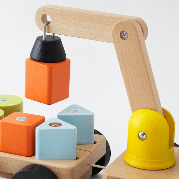 MULA Hijskraan met blokken, veelkleurig/beuken