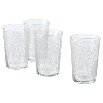 MUSTIGHET glas met een patroon/wit 12.5 cm 46 cl 4 st.