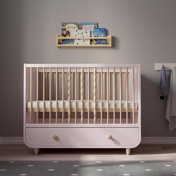 MYLLRA Babybedje met lade, bleekroze, 60x120 cm