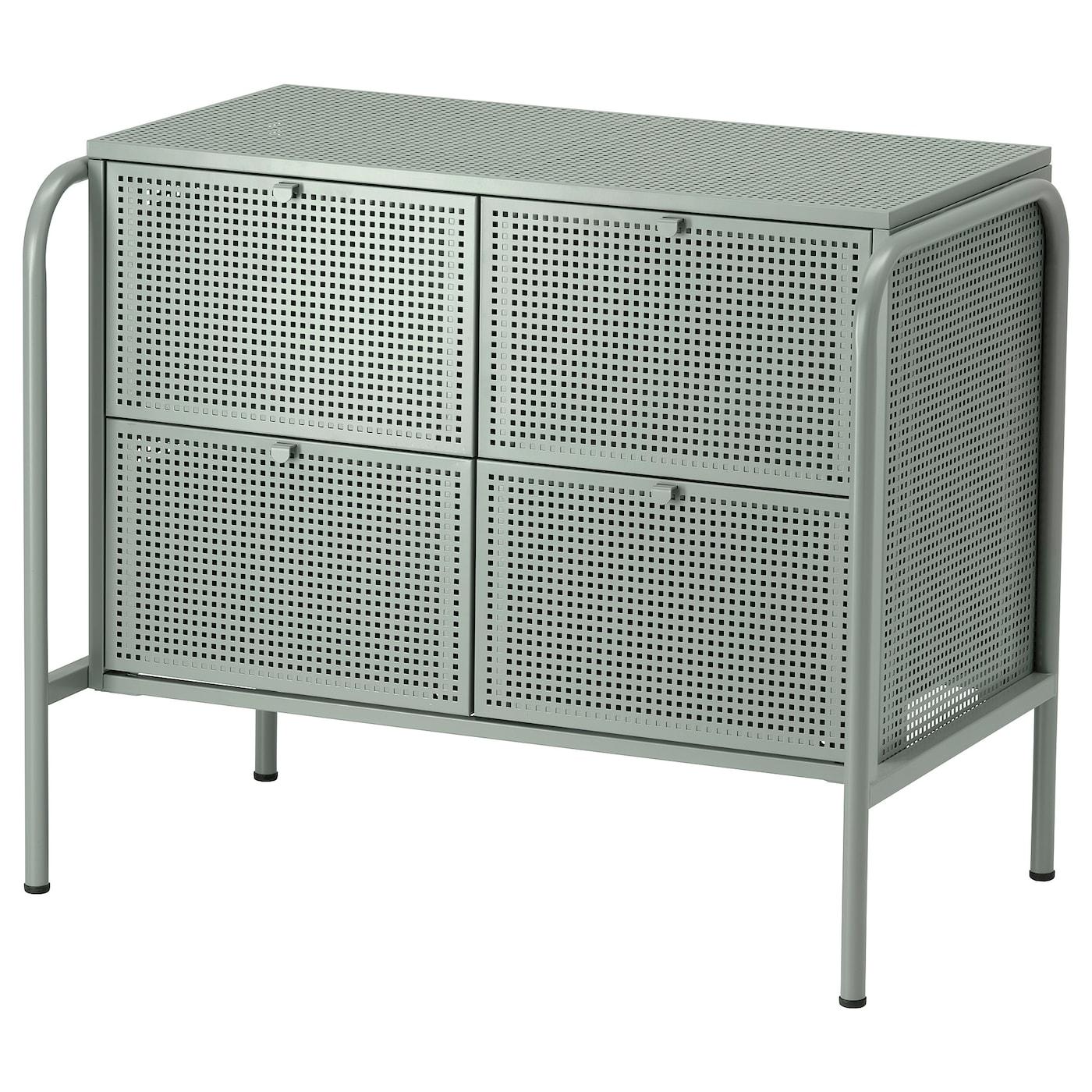 IKEA - NIKKEBY Ladekast met 4 lades - 84x70 cm - Grijsgroen