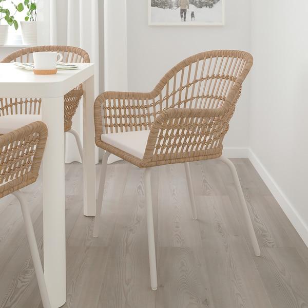 NILSOVE / NORNA stoel met stoelkussen rotan wit/Laila naturel 110 kg 57 cm 57 cm 82 cm 42 cm 40 cm 44 cm
