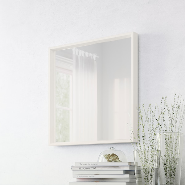 NISSEDAL Spiegel, wit, 65x65 cm
