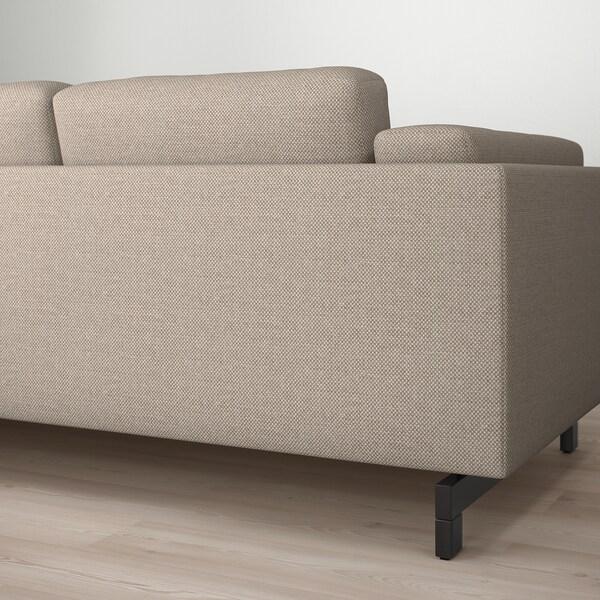 NOCKEBY 3-zitsbank, met chaise longue, links/Lejde donkerbeige/hout