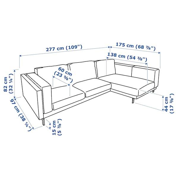 NOCKEBY 3-zitsbank, met chaise longue, rechts/Lejde donkerbeige/verchroomd