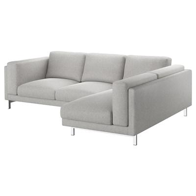 NOCKEBY 3-zitsbank, met chaise longue, rechts/Tallmyra wit/zwart/verchroomd