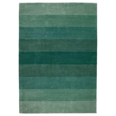 NÖDEBO Vloerkleed, laagpolig, handgemaakt/groen, 170x240 cm