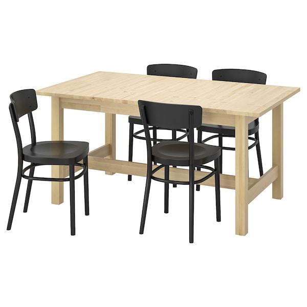 Ikea Eettafel 4 Stoelen.Norden Idolf Tafel En 4 Stoelen Berken Zwart Ikea