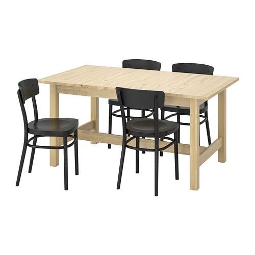 Eettafel En Stoelen Ikea.Norden Idolf Tafel En 4 Stoelen Berken Zwart