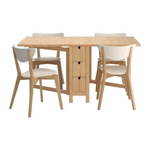 NORDEN/NORDMYRA Tafel en 4 stoelen IKEA In de 6 lades onder het ...