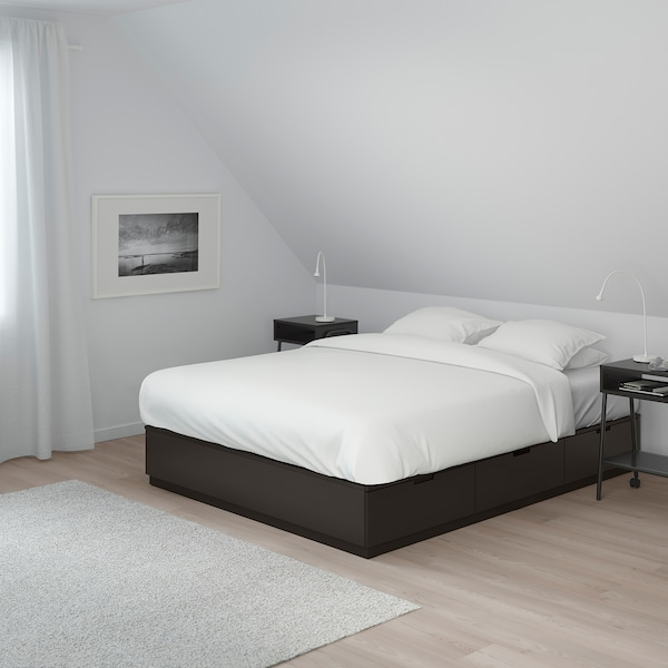 NORDLI bedframe met opberglades antraciet 16 cm 202 cm 140 cm 30 cm 58 cm 51 cm 200 cm 140 cm