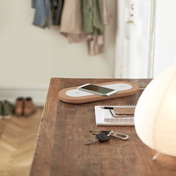 NORDMÄRKE Driedubbele plaat v draadl opladen, wit/kurk