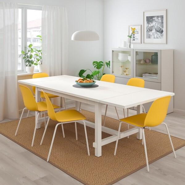 NORDVIKEN / LEIFARNE Tafel en 4 stoelen, wit/Broringe wit, 152/223x95 cm