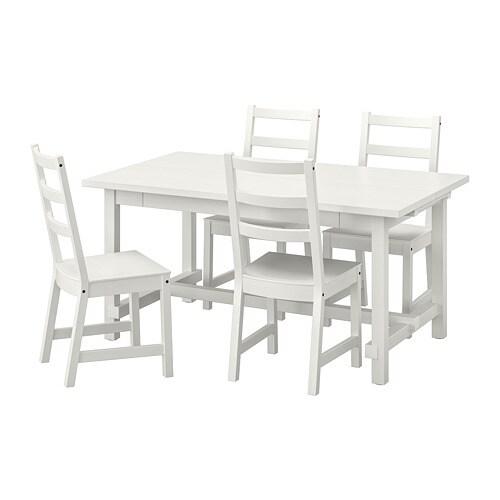 Eettafel En Stoelen Ikea.Nordviken Nordviken Tafel En 4 Stoelen Wit Wit
