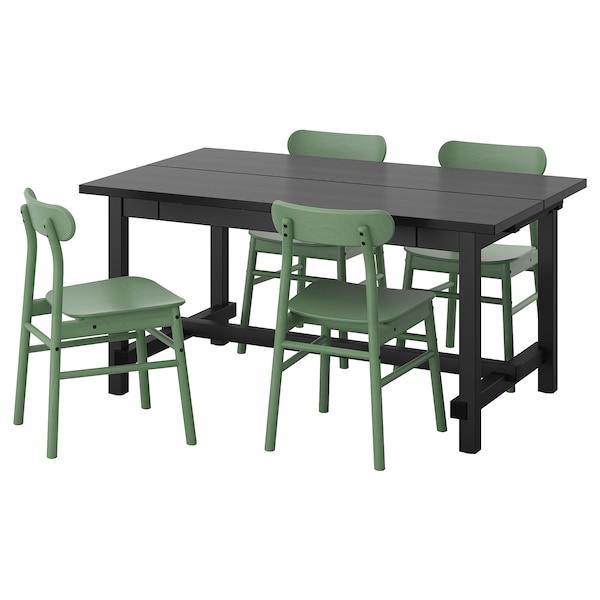 Ikea Eettafel 4 Stoelen.Nordviken Ronninge Tafel En 4 Stoelen Zwart Groen Ikea
