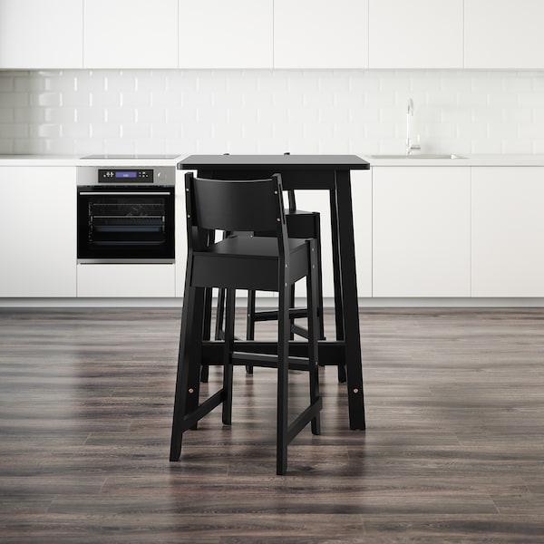 NORRÅKER Bartafel en 2 barkrukken, zwart/zwart, 74 cm