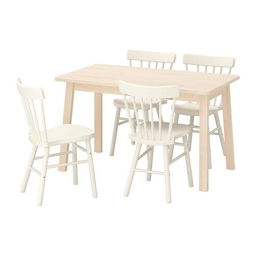 Eettafel En Stoelen Ikea.Norraker Norraryd Tafel En 4 Stoelen Berken Wit