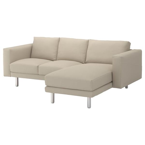 NORSBORG 3-zitsbank, met chaise longue/Edum beige/metaal