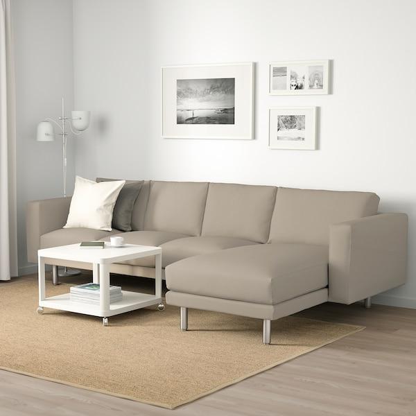 NORSBORG 4-zitsbank, met chaise longue/Edum beige/metaal