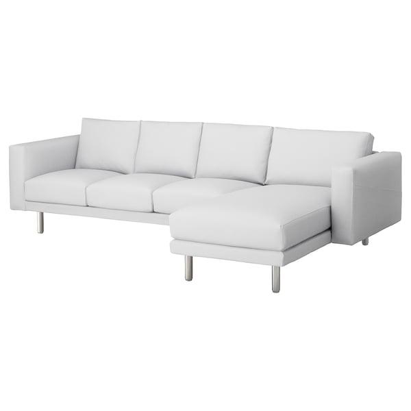 NORSBORG 4-zitsbank, met chaise longue/Finnsta wit/metaal