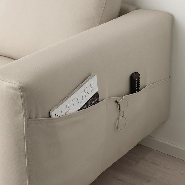 NORSBORG 4-zitsbank, met chaise longues/Edum beige/berken
