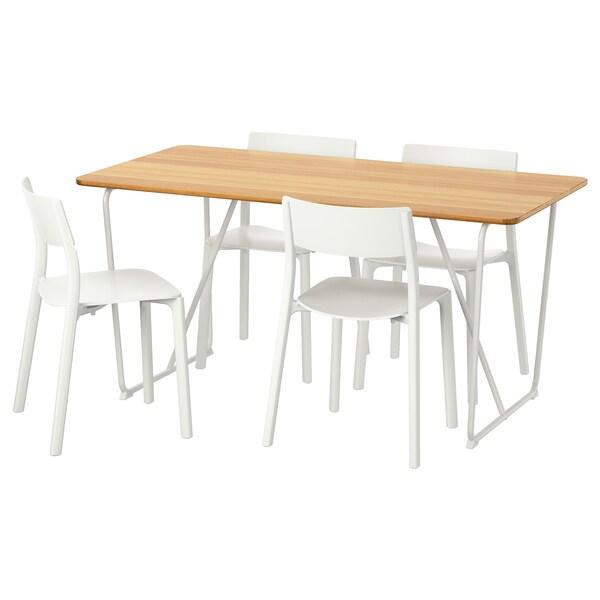 ÖVRARYD / JANINGE Tafel en 4 stoelen, wit bamboe/wit, 150 cm