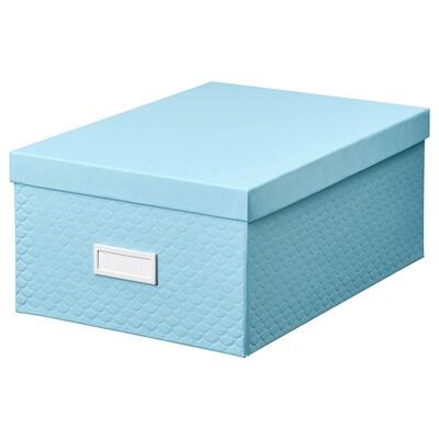 PALLRA doos met deksel lichtblauw 25 cm 35 cm 15 cm