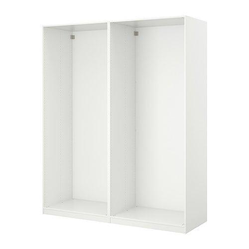 Pax 2 basiselementen garderobekast 150x35x236 cm wit for Slaapkamer garderobekasten