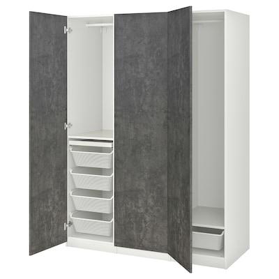 PAX / KALLVIKEN Kledingkastcombinatie, wit/donkergrijs betonpatroon, 150x60x201 cm