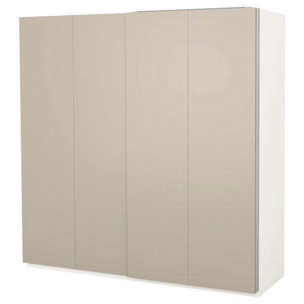 PAX Kledingkast, wit/Hasvik beige, 200x66x201 cm