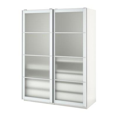 PAX Kledingkast, wit/Nykirke frosted glas, ruitpatroon, 150x66x201 cm