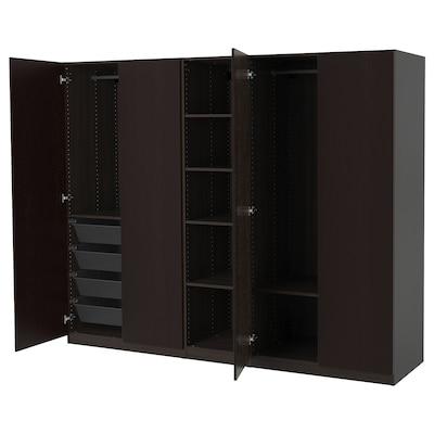 PAX Kledingkast, zwartbruin/Forsand zwartbruingelazuurd esseneffect, 250x60x201 cm