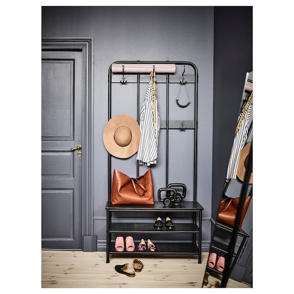 PINNIG Kapstok met bank, zwart, 193x37x90 cm