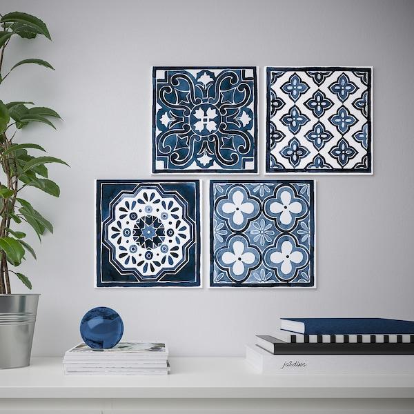 PJÄTTERYD afbeelding zonder lijst blauw patroon 30 cm 30 cm 4 st.