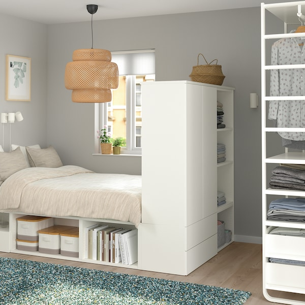 Verrassend PLATSA Bedframe met 2 deuren+3 lades, wit, Fonnes - IKEA XT-75