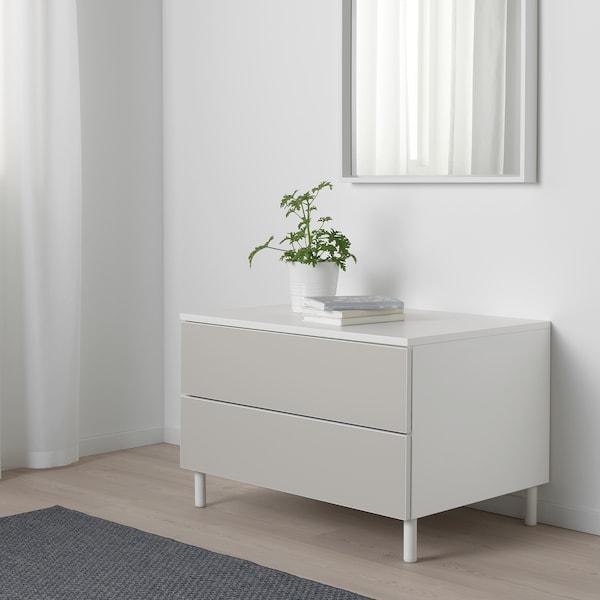 PLATSA ladekast 2 lades wit/Skatval lichtgrijs 80 cm 57 cm 53 cm
