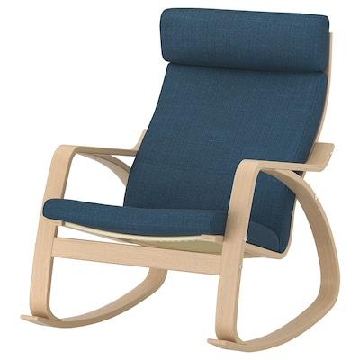 POÄNG schommelstoel wit gelazuurd eikenfineer/Hillared donkerblauw 68 cm 94 cm 95 cm 56 cm 50 cm 45 cm