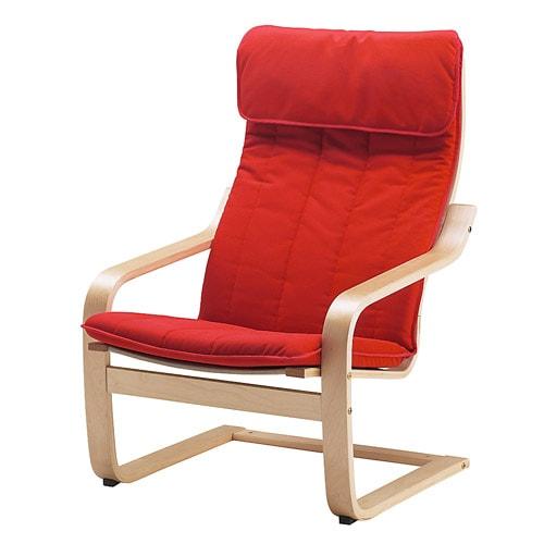 po ng fauteuil kussen alme middenrood ikea. Black Bedroom Furniture Sets. Home Design Ideas