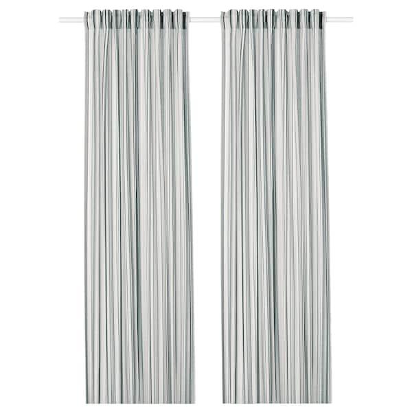 PRAKTKLOCKA Gordijnen, 1 paar, grijs/gestreept, 145x300 cm