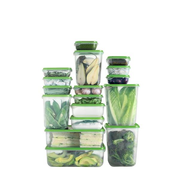 PRUTA Voorraaddoos met deksel, set van 17, transparant/groen