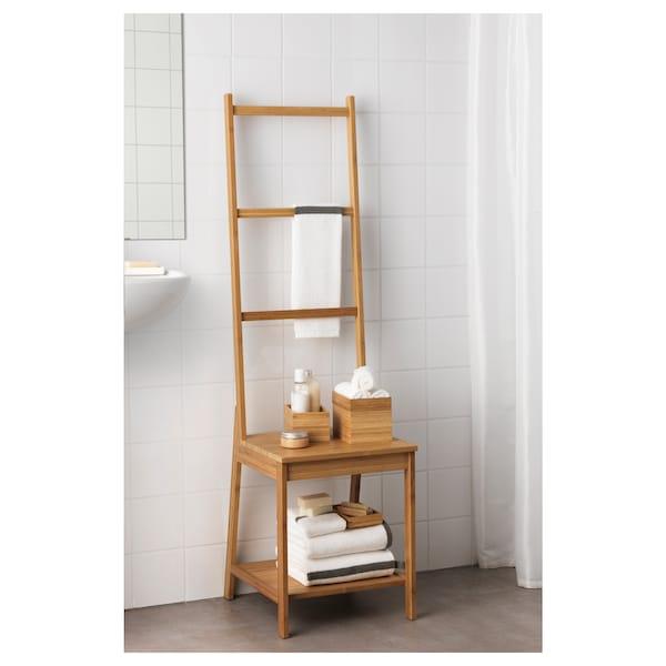 RÅGRUND stoel met handdoekenrek bamboe 39 cm 44 cm 140 cm