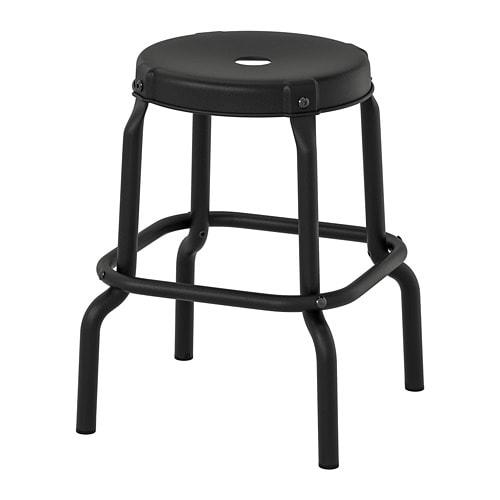 Zwart Leren Krukje.Raskog Kruk Ikea