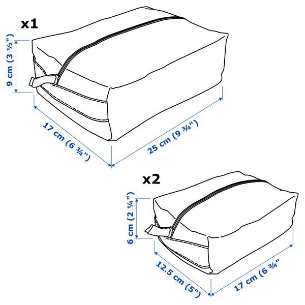 RENSARE Accessoiretasje, set van 3, gestippeld/geel