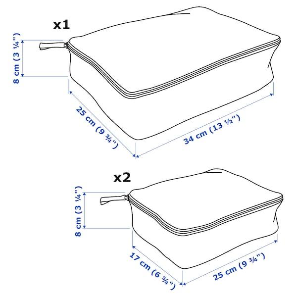 RENSARE Kledingtas, set van 3, ruitpatroon/grijs zwart