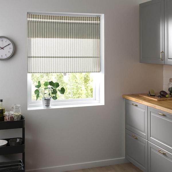 RINGBLOMMA Vouwgordijn, wit/groen/gestreept, 140x160 cm