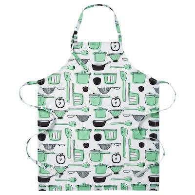 RINNIG Schort, wit/groen/met een patroon
